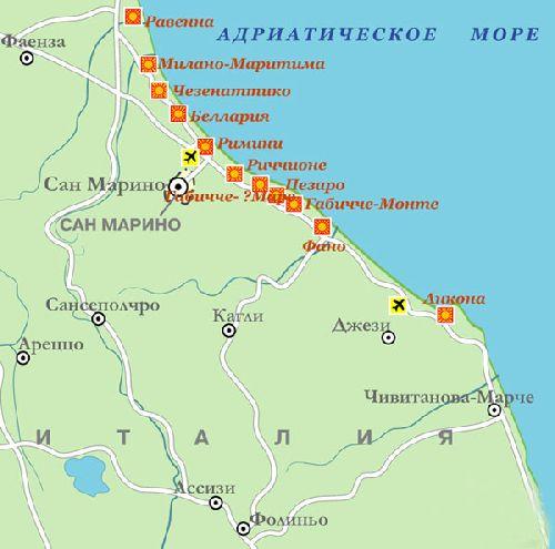 Курорты Адриатической ривьеры на карте