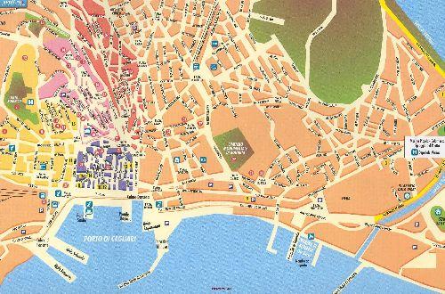 Большая карта города Кальяри