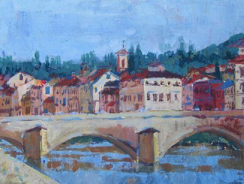 """Картина с изображением реки """"Арно"""""""