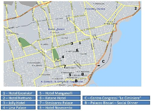 Отели Катании на карте города
