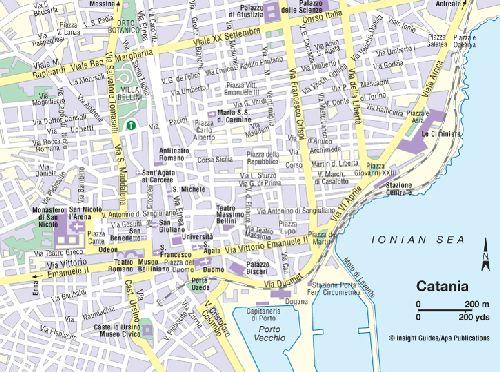 Карта центра города Катании