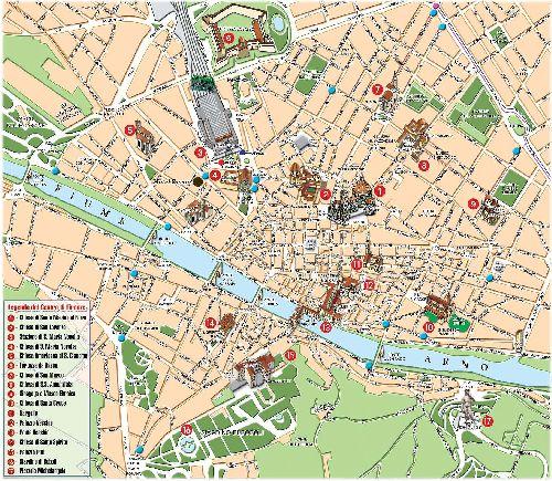Большая туристическая карта всех достопримечательностей Флоренции