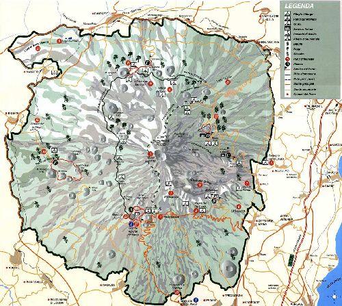 Карта Этна-парка на о. Сицилия