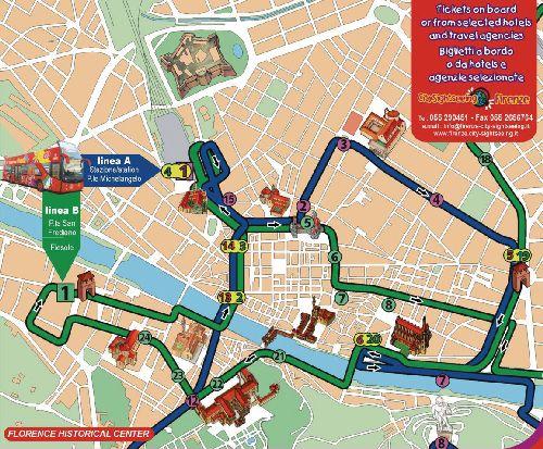 Маршрут автобусной экскурсии по Флоренции от тур. фирмы