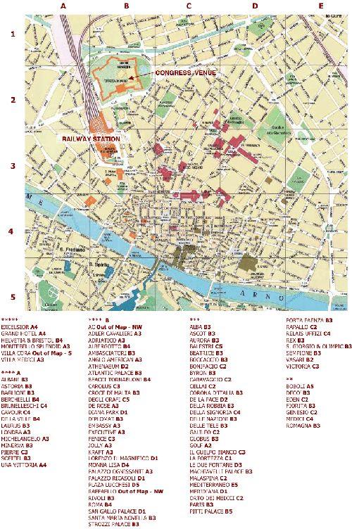 Список и расположение на карте Флоренции основных учреждений, зданий и исторических памяток
