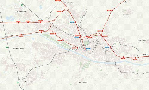 Ж/д пути Флоренции на карте города
