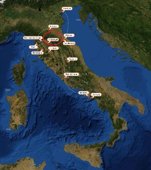Флоренция на карте Италии