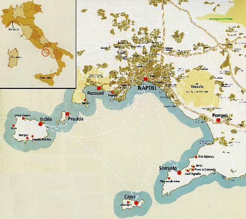 Искья на карте Италии (детальнее)
