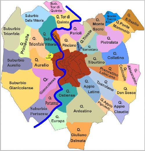 Карта территориального деления Рима на районы
