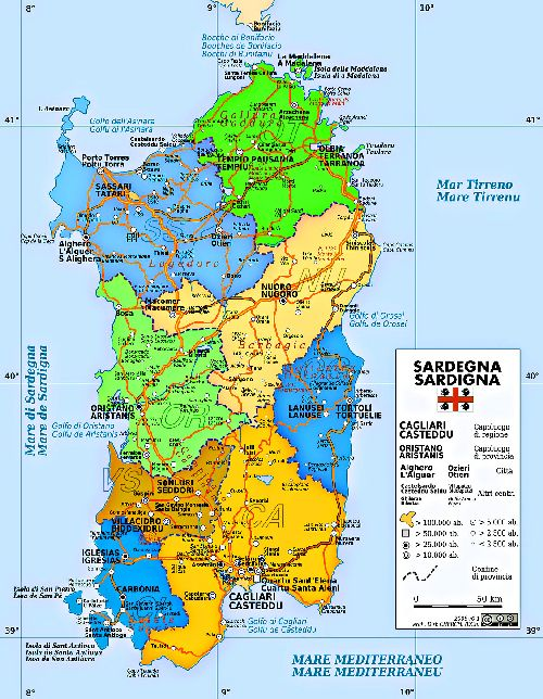 Подробная карта Сардинии