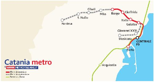 Маршрут метро в Катании