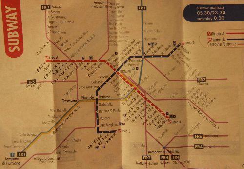 Другой вариант карты римского метрополитена