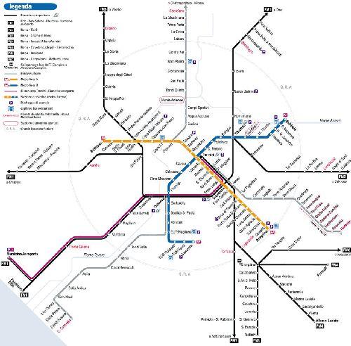 Подробная карта римского метро