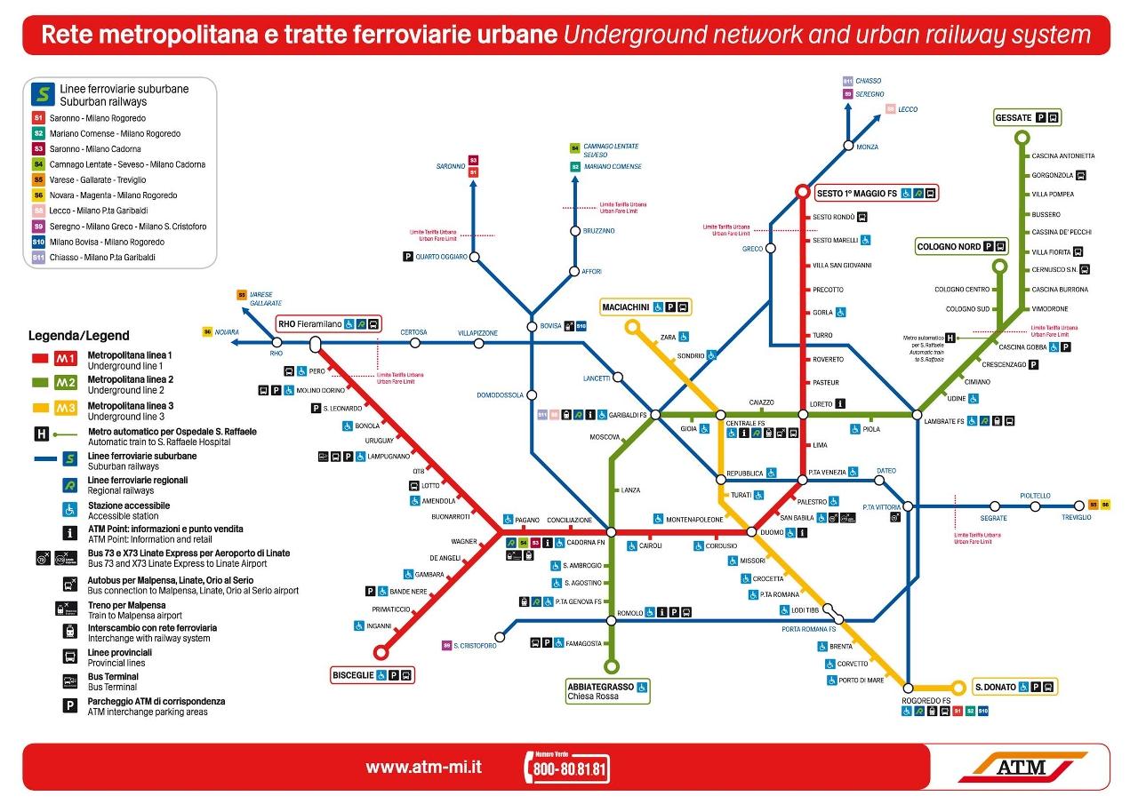 Карта миланского метро ветки