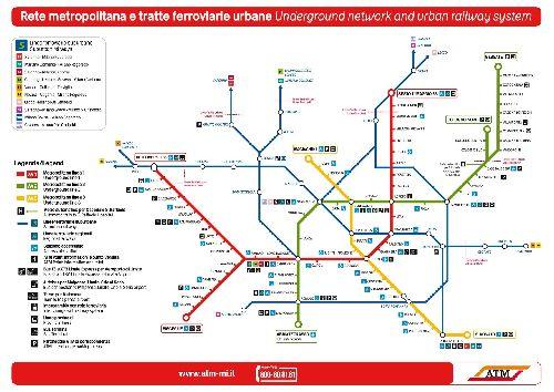 Карта миланского метро: ветки метро, станции, близлежащие отели, заправки, автобусные остановки