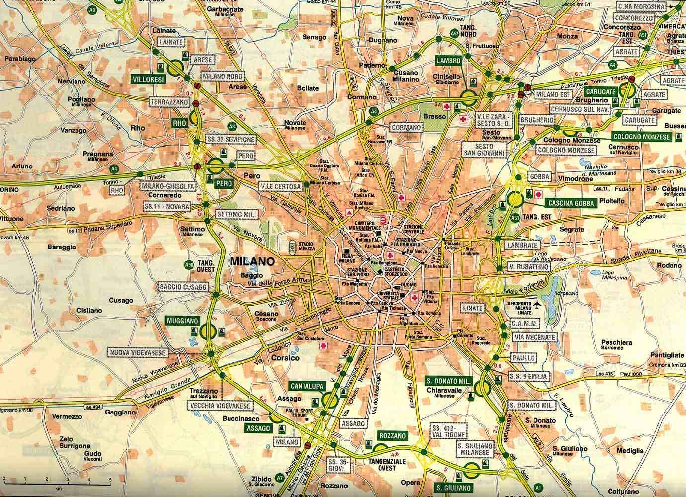 Karty Milana Milan Na Karte Italii Podrobnaya Karta Goroda