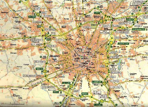 Карта пригорода Милана