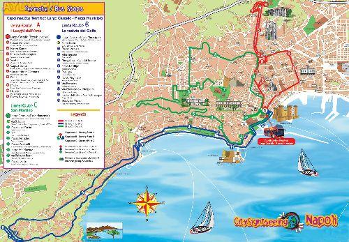 Подрбная туристическая карта Неаполя