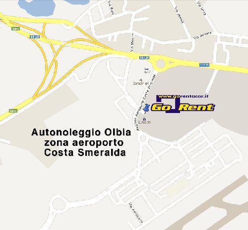 """Расположение аэропорта """"Олбия"""" на карте города"""