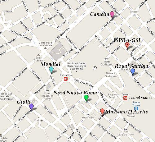 Карта отелей Рима в центре города