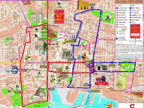 Карта автобусной экскурсии по Палермо