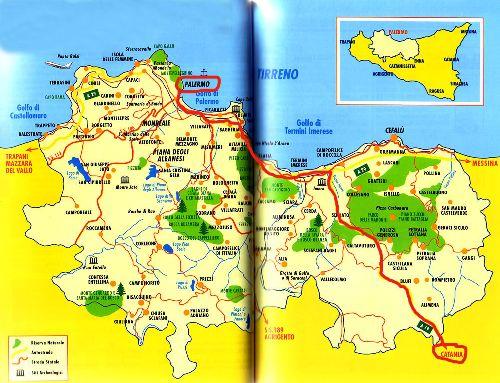 Маршрут поездки из Палермо в Катанию на карте Сицилии