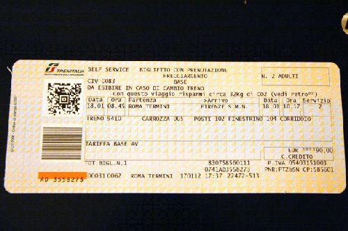 ж/д билет по направлению Рим - Флоренция