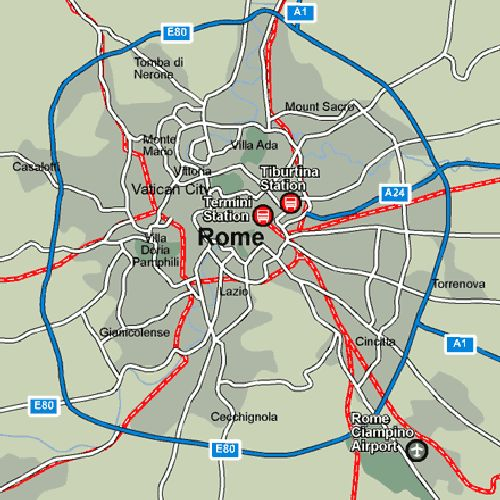 Общая карта ж/д развязки Рима