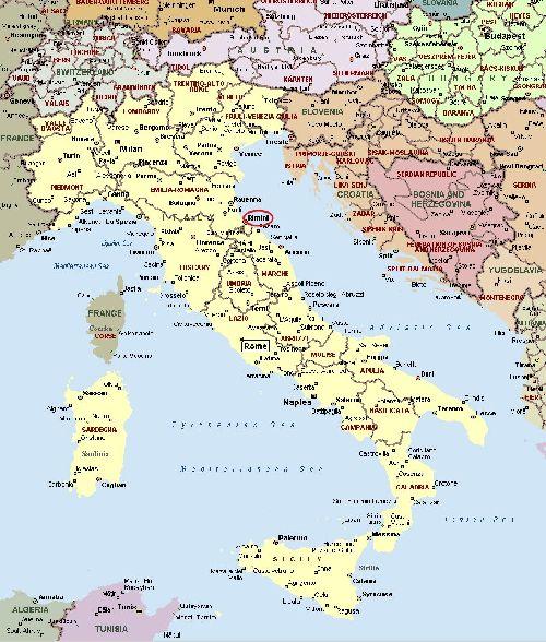 Город Римини на карте Италии