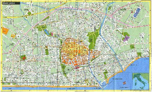 Подробная карта улиц, учреждений и достопримечательностей центра Римини
