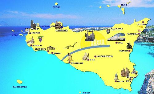 Расположение основных городов на карте Сицилии