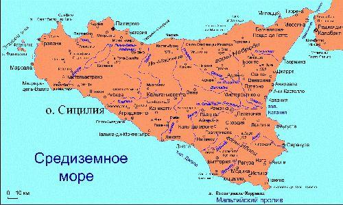Большая карта Сицилии