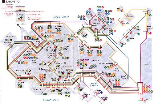 Схема маршрута курсирования водных трамвайчиков в Венеции