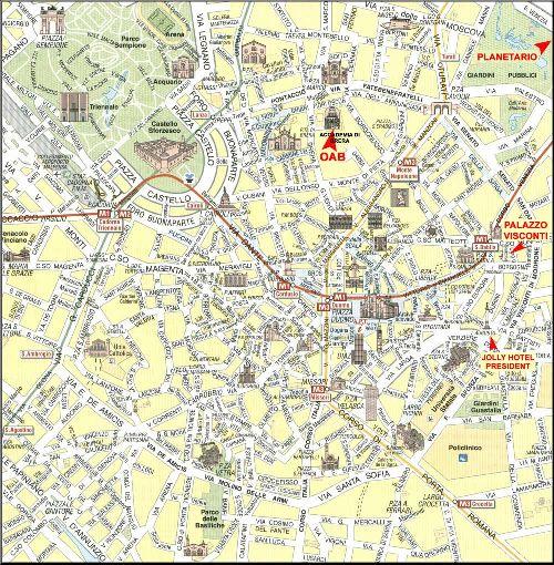 Большая карта достопримечательностей Милана и их расположение